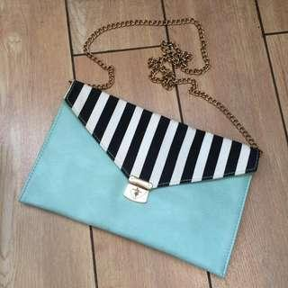 Suiteblanco Original Authentic 100% - Tosca black & white clutch with gold hardware #bersihbersih