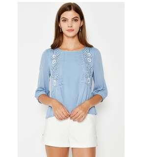 Love and Bravery LAB NadineFloral Embroidered Top Light Blue