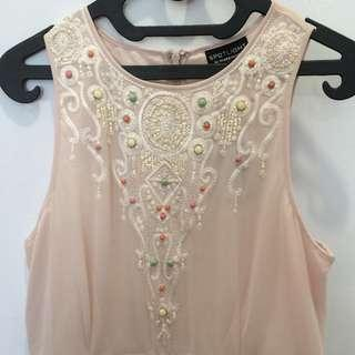 Spotlight by Warehouse - Peach Chiffon Dress, size UK 12  #bersihbersih