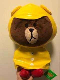 LINE Brown 熊大公仔 - 黃色雨衣版
