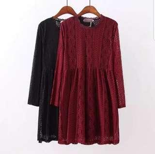 💖💖(L~5XL) plus size black Maroon Lace Dress chinese new year