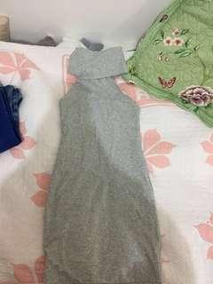 Kookai Grey Marle Thick Cotton Dress