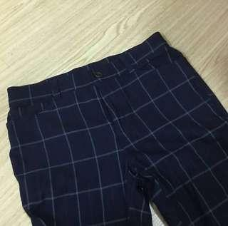 Navy Blue Plaid Tapered Pants