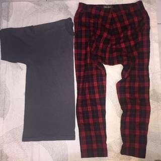 Oversized Tee and Plaid Pants