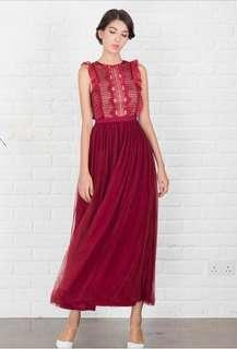 Doublewoot Dogaria Maxi Dress in Maroon