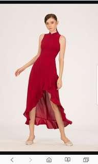 BNWT Doublewoot DHEENALIN cheong sam dress (MAROON)