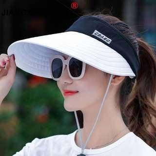 summer Sun Hats pearl packable sun visor hat with big heads wide brim beach hat UV protection female cap