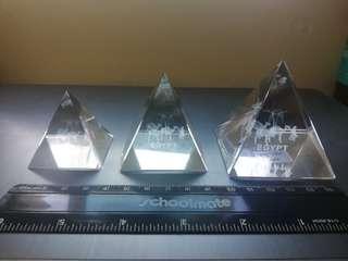 Three crystal pyramids