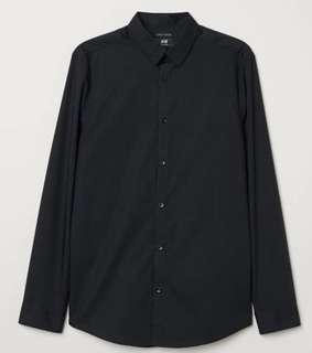 H&M Easy Iron Black Shirt