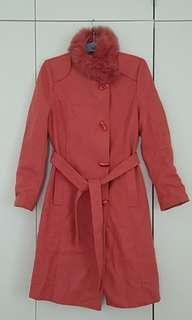 Ladies Wool Winter Coat Pink Color