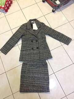 Checked Blazer & Skirt Set