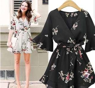 💖💖 (L~5XL) floral romper flower prints chinese new year