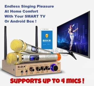 Karaoke Wireless Microphone Receiver Mixer System Up to 4 Mics