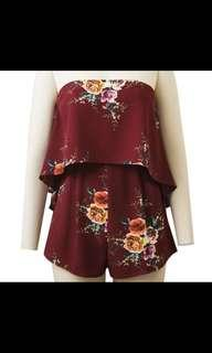 Maroon red wine floral tube bustier romper playsuit jumpsuit