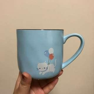 🚚 (Ready Stock) Blue Ceramic Cat Cup Mug With Spoon