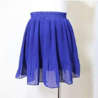 🚚 浪漫寶藍 雪紡百摺設計款 飄逸短裙 紗裙