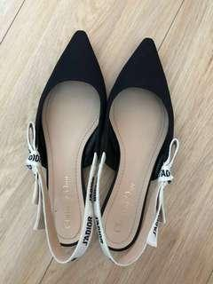 Dior Slingback Flats in Technical Canvas Size 37 ½