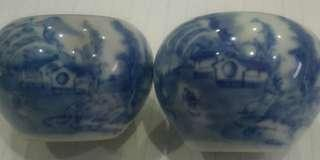 Old Shama Blue Whilte  Scenary/ 三水 Bird Cups