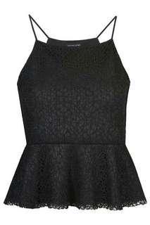 Black Lace Peplum Top