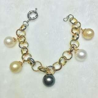 Chained bracelet with Authentic Southsea pearls