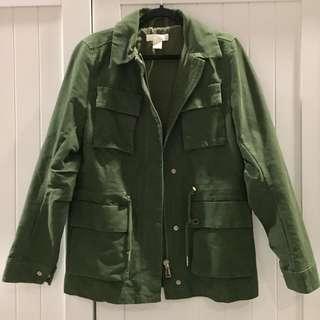 H&M ARMY GREEN PARKA JACKET SZ XS-S