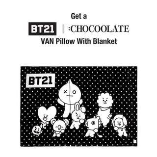 Chocoolate x BT21 Van pillow blanket