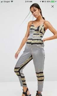 $85 River island scarf print jumpsuit with tapered legs