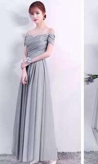 Offshoulder Grey long chiffon material  dress