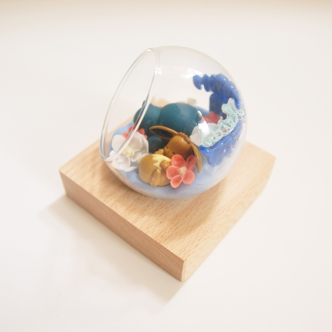 生日禮物訂造 手作玻璃球 精靈球 寵物小精靈 伊貝 卡比獸 永生花 樹脂黏土 扭蛋