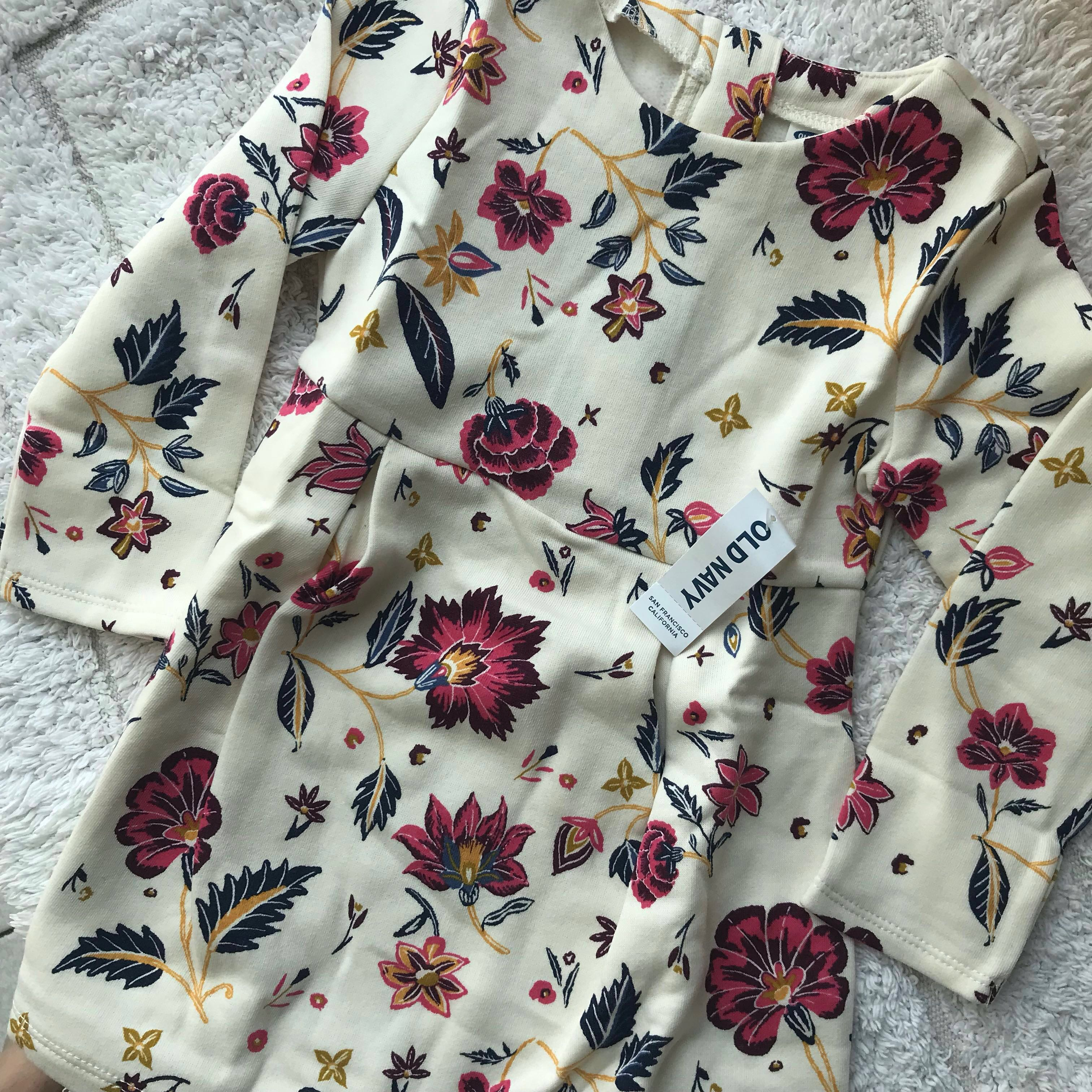 BN Old Navy Baby Girl Floral Long Sleeves Dress 2T ...