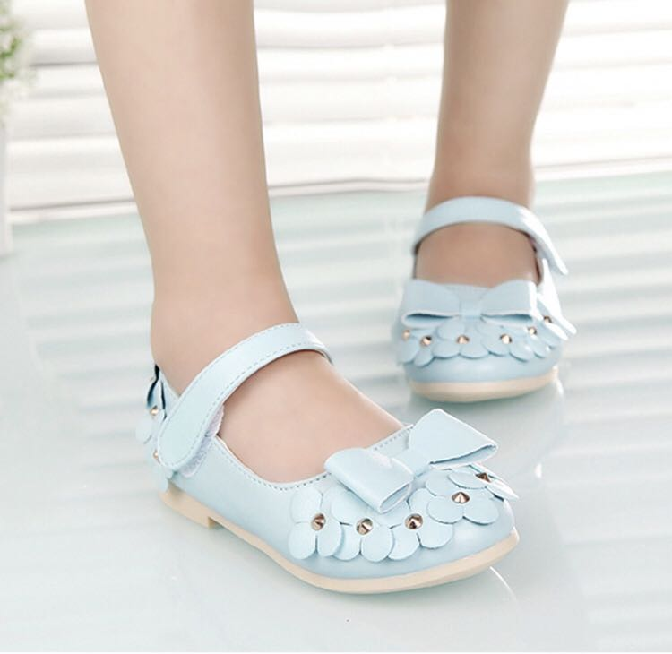 BN Toddler Girl Korean Style Sky Blue Floral Flower Ballet Flats ...