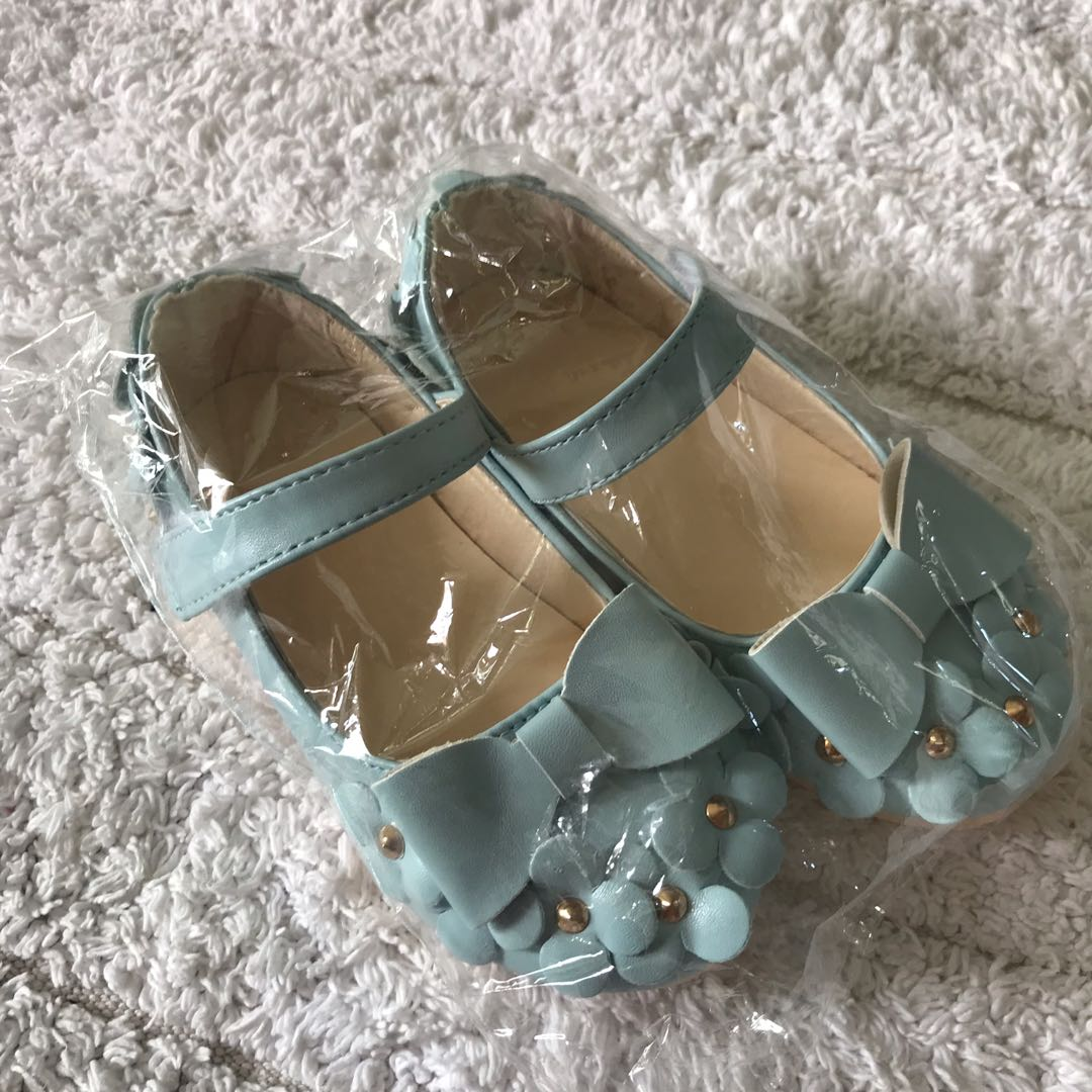 BN Toddler Girl Korean Style Sky Blue Floral Flower Ballet Flats Shoes  EUR26! For 15.2cm feet! 2-3 years!