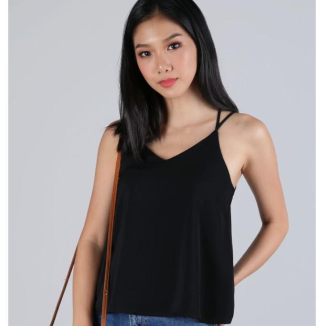 1802c3e3c820 Double Strap Black Spag Cami Top, Women's Fashion, Clothes, Tops on ...