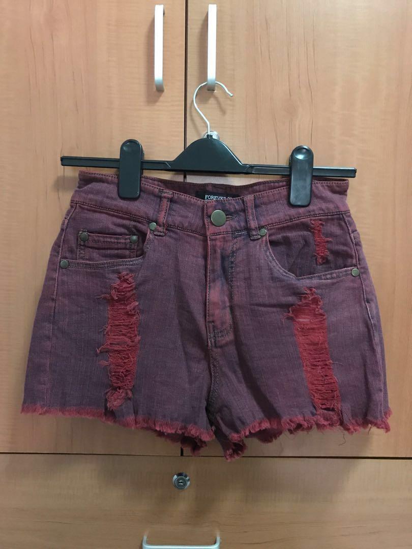 cca3165085 Forever 21 Maroon Ripped High Waist Denim Shorts, Women's Fashion ...
