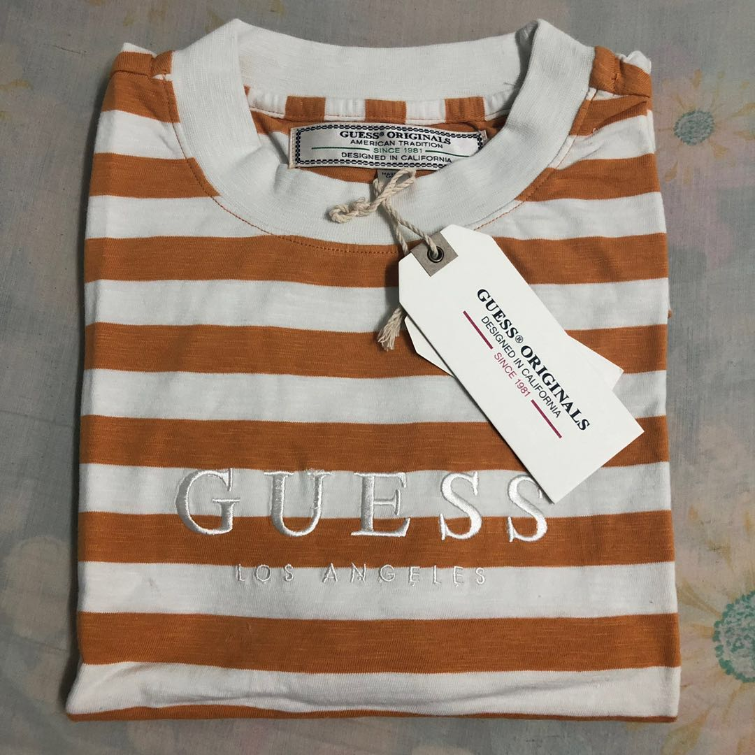 78b276313f Guess Originals Oversized Logo striped tee, Men's Fashion, Clothes ...