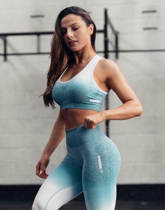 2083da30fda36 Gymshark seamless ombré leggings deep teal/ice blue size XS, Sports ...