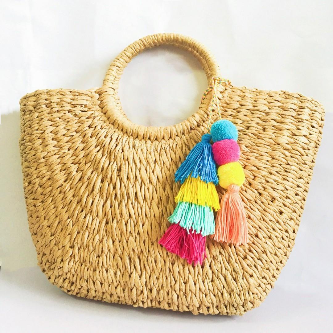 Straw Bag sling wicker big strawbag crossbody rattan woven stylish ... f3b3a9f00ac90