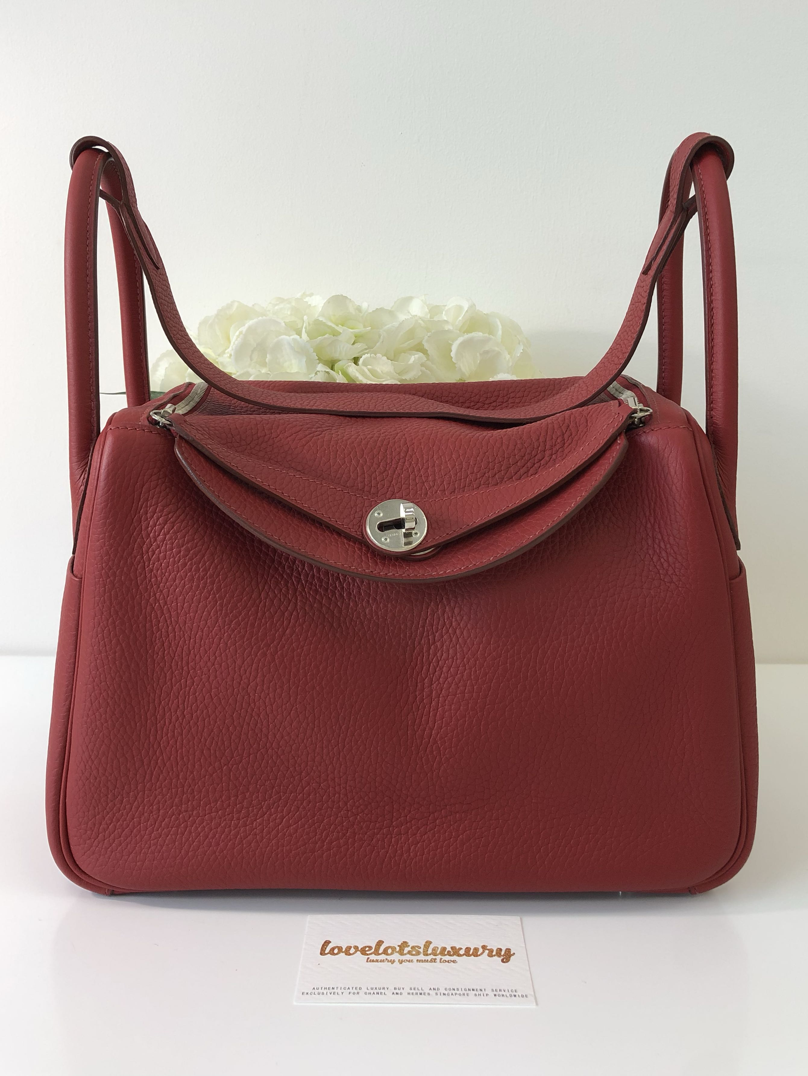 Hermes Lindy 30 Rouge Garance Clemence PHW a79174bb72