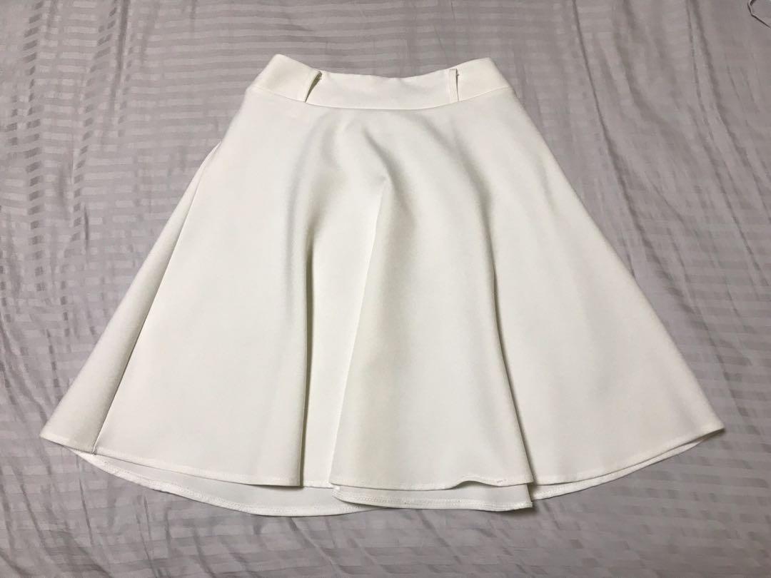 Knee Length White Skater Skirt 5b030de65