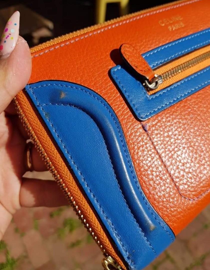 Ladies genuine leather wallet orange and blue