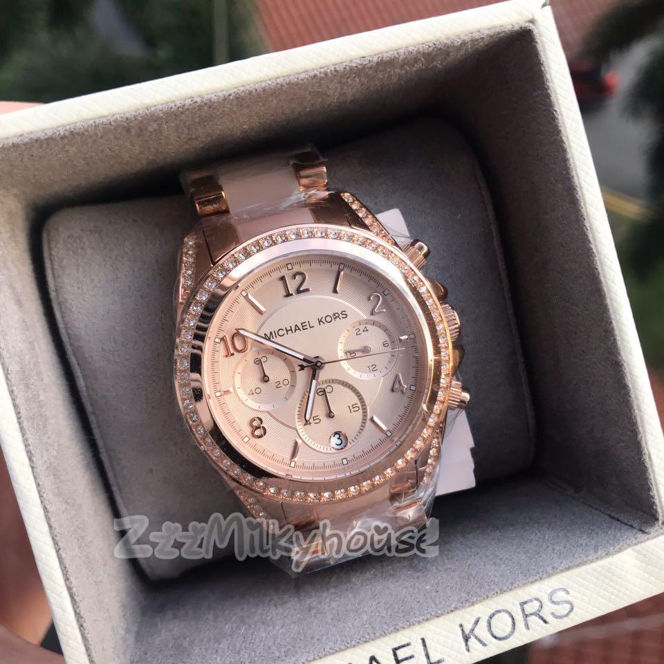 be8d21d6558 Michael Kors Blair Rose Gold-Tone Chronograph Ladies Watch MK5943 ...