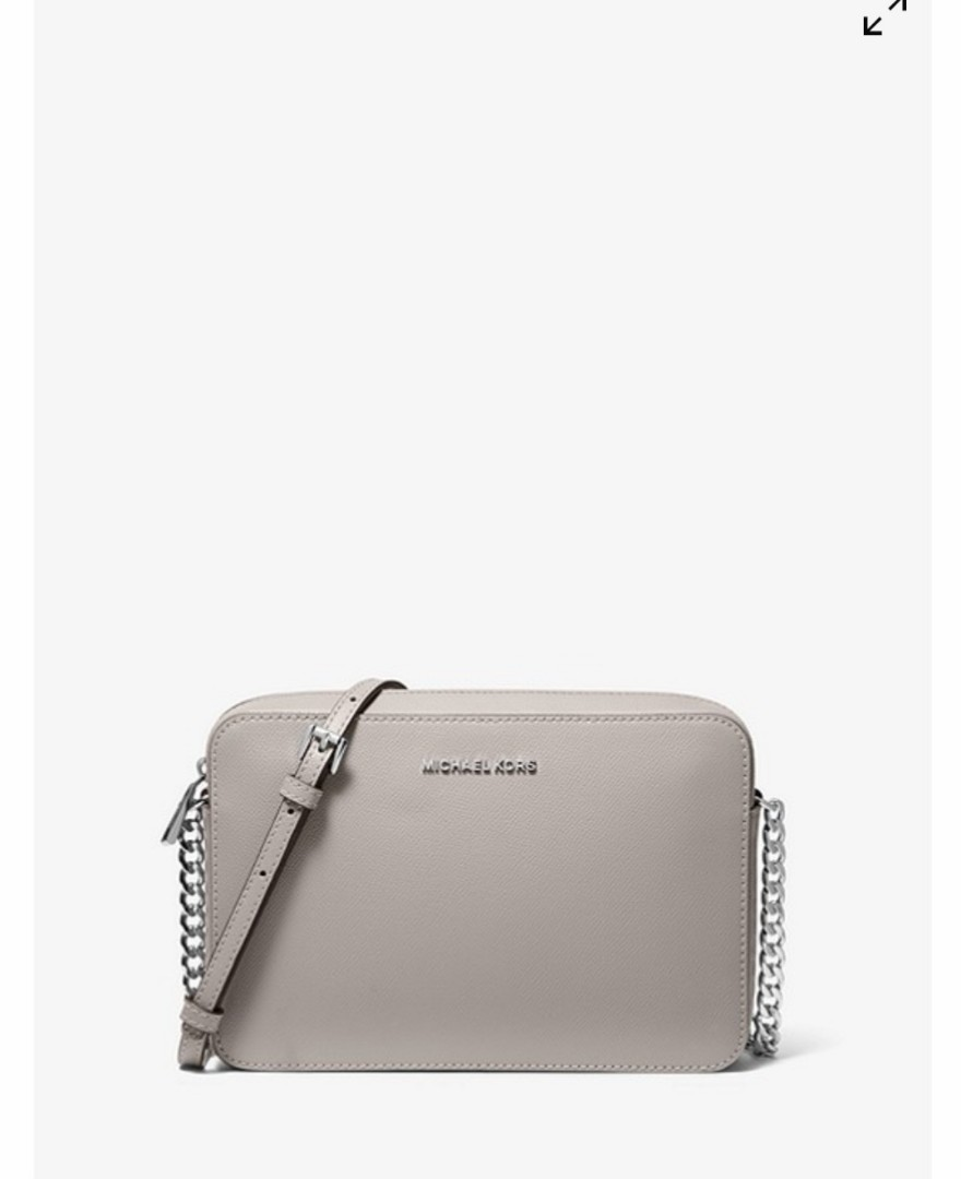 f1c45a63e4 Michael Kors Jet Set Crossbody Bag Large 100% Saffiano Leather Pearl Grey
