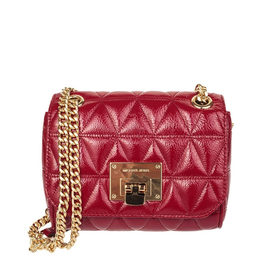 817ceeee16c0 NEW Michael Kors MK Vivianne Patent Glossy Quilted Leather Crossbody ...
