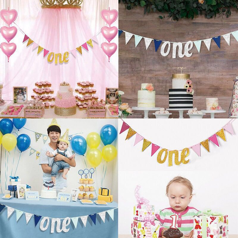 One Year Old Baby Triangle Flag Birthday Party Garland Banner Table