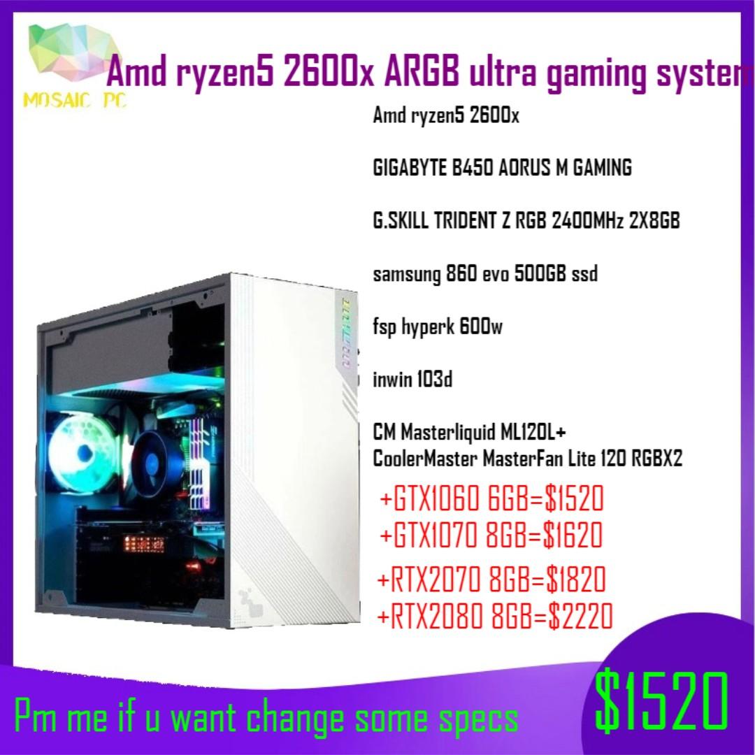 (Promo!!!)Amd ryzen5 2600x ARGB liquid cooling ultra gaming destop pc(Pm me  if u want change some specs)