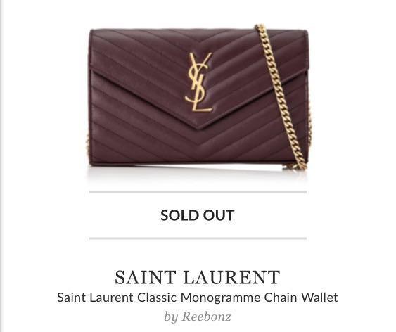 c6197ec3433 Saint Laurent Classic Monogramme Chain Wallet, Luxury, Bags ...