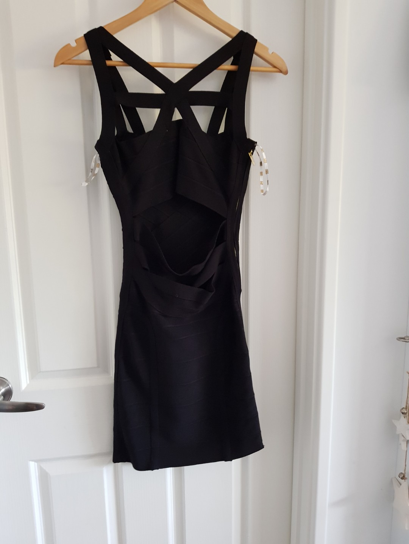 Stretta Black Christina bandage dress