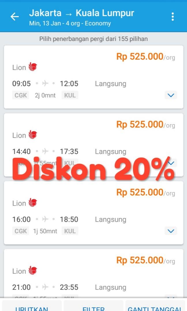 Tiket Pesawat Jakarta Kuala Lumpur Diskon 20 Dari Harga Traveloka