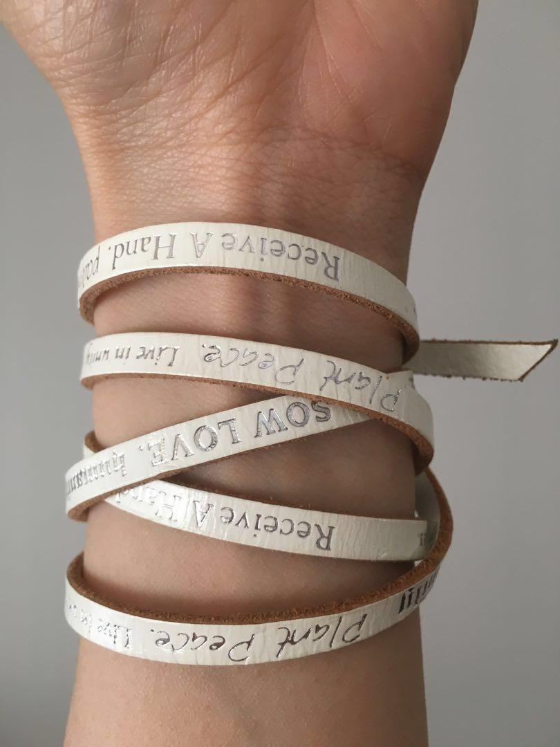 white leather wrap bracelet with inspirational & motivational spiritual quotes for yoga meditation relaxation
