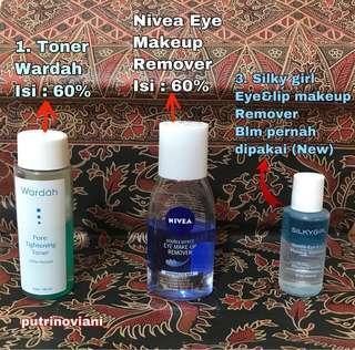 TAKE ALL Nivea eye makeup remover, Silky girl eye&lip make up remover, Wardah Toner Pore tightening.